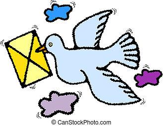 Homing postal pigeon with envelope