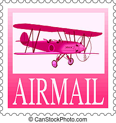 Airmail stamp on white