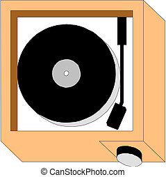The old record player vinyl discs