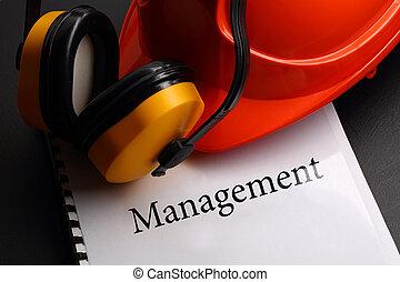 Management with earphones and helmet