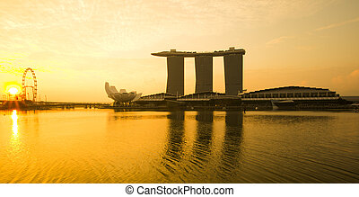 Marina Bay view with sunrise. Singapore