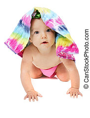 baby girl under cloth diaper - one young baby girl posing...