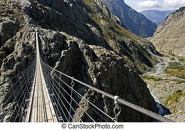 Trift suspension footbridge Windegg, Europe's highest...