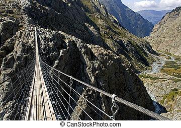 Trift suspension footbridge Windegg, Europe's highest...