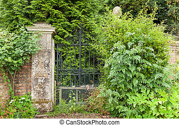 Overgrown black wrought iron gates. - Wrought iron gates...