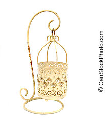 candleholder over white - one yellow fancy candle holder...