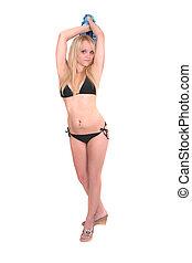 woman in swimsuit - a sexy adult model in a black bikini...