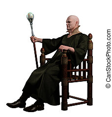 Warlock Sitting on his Throne - Warlock with magic staff...
