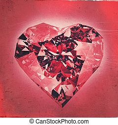 diamond heart shape - 3d diamond heart shape as vintage...