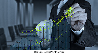 businessman hand working with new computer interface show...