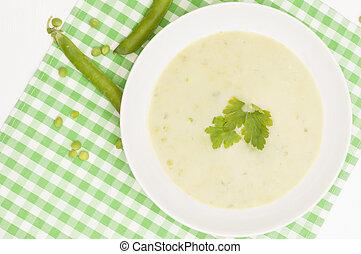 Pea Soup  - Green Creamy Pea Soup in White Plate