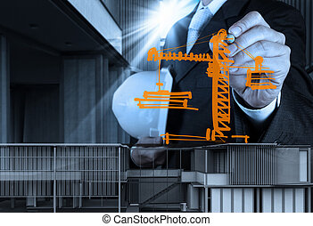 engineer hand working with new computer interface show building development concept