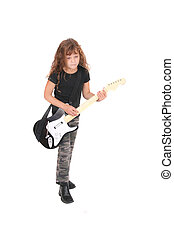 rockstar girl child - a young female child playing guitar...