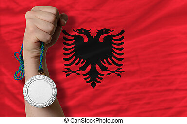 Silver medal for sport and national flag of albania -...
