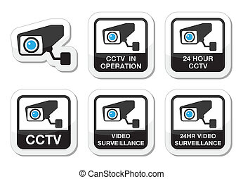 CCTV camera, surveillance icons - CCTV camera warning sign...