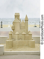 huge sandcastle - a large carved stone sandcastle near the...