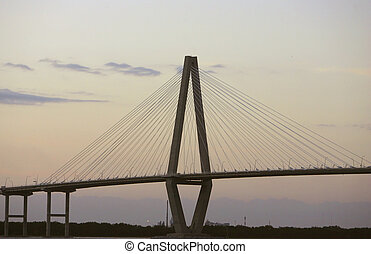 Cooper River Bridge - evening sunset portrait of the Cooper...
