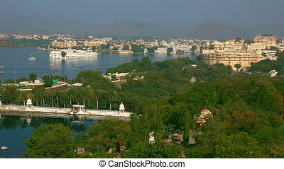 Panorama of Udaipur. - Panoramic view of the Indian city of...