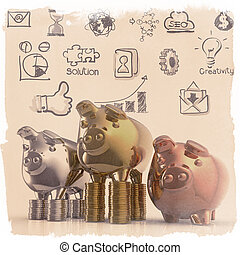 winner piggy bank as business vintage style concept