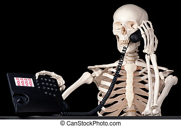 Permanently on hold - A skeletal call centre employee keeps...