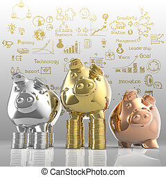 winner piggy bank as business concept