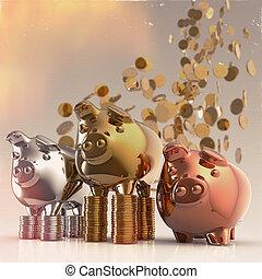 piggy bank as concept - piggy bank as vintage style concept