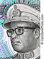 Mobutu on 5 nouveaux makuta 1993 banknote from Zaire....