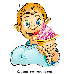Cartoon little boy with ice cream - Cartoon little boy...