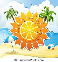Orange fruit and summer beach - Solar shape design with...