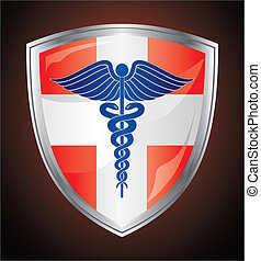 Caduceus Medical Symbol Shield - Illustration of a caduceus...