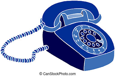 Old telephone. Vector
