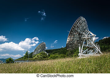 Antennas on the earth station Aflenz ,Styria,Austria.
