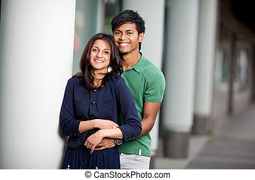 young couple in love - young smiling couple in love standing...
