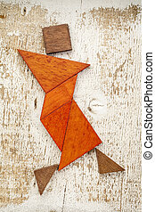 tangram dancer figure - abstract figure of a female dancer...