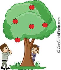 Kids Playing Around Tree - Vector