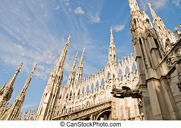 milan cathedral - low angle view of the gothic cathedral of...