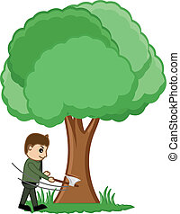 Man Cutting Tree Vector Concept - Conceptual Drawing Art of...