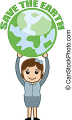 Save the Earth Banner with Earth