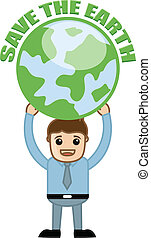 Man Showing Save the Earth Concept