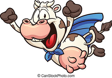 Cartoon super cow flying Vector clip art illustration with...