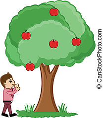 Man Looking at Fruits Tree Vector - Conceptual Drawing Art...