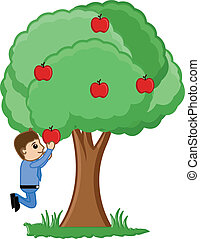 Man Plucking an Apple Vector - Conceptual Drawing Art of...