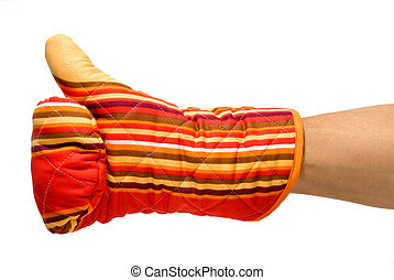 cooking perfect - ok gesture with a red oven glove