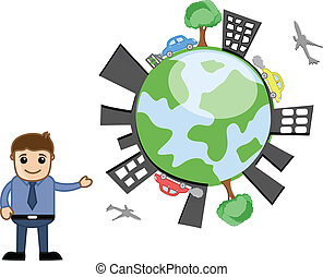 Businessman Showing Earth Vector