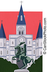 St Louis Cathedral, Louisiana - Stock Illustration of St...