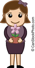 Holding a Flower Pot in Hands - Conceptual Drawing Art of...