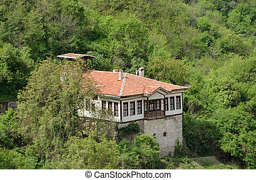 An aerial view of a house in Melnik, Bulgaria
