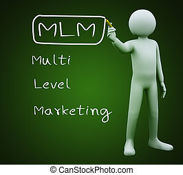 3d man writing mlm - 3d illustration of person with marker...