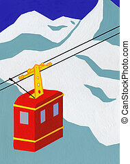 Overhead Cable Car in the Mountains - Drawing of Overhead...
