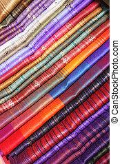 Linens at the Otavalo Craft Market - Handmade linens for...